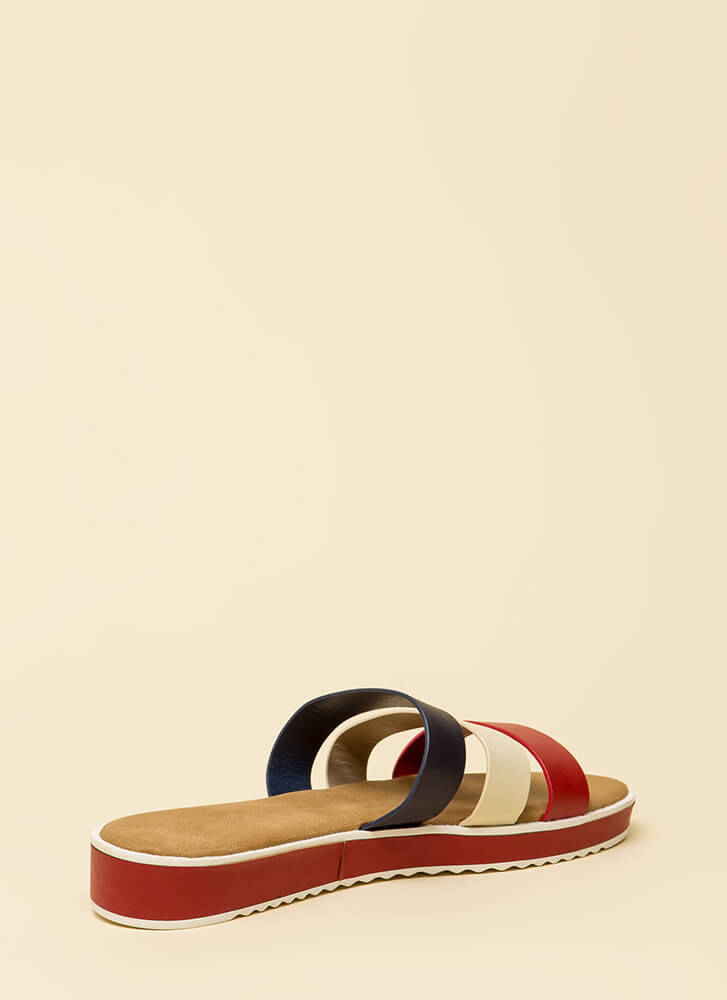 3 Straps And You're Out Platform Sandals REDMULTI