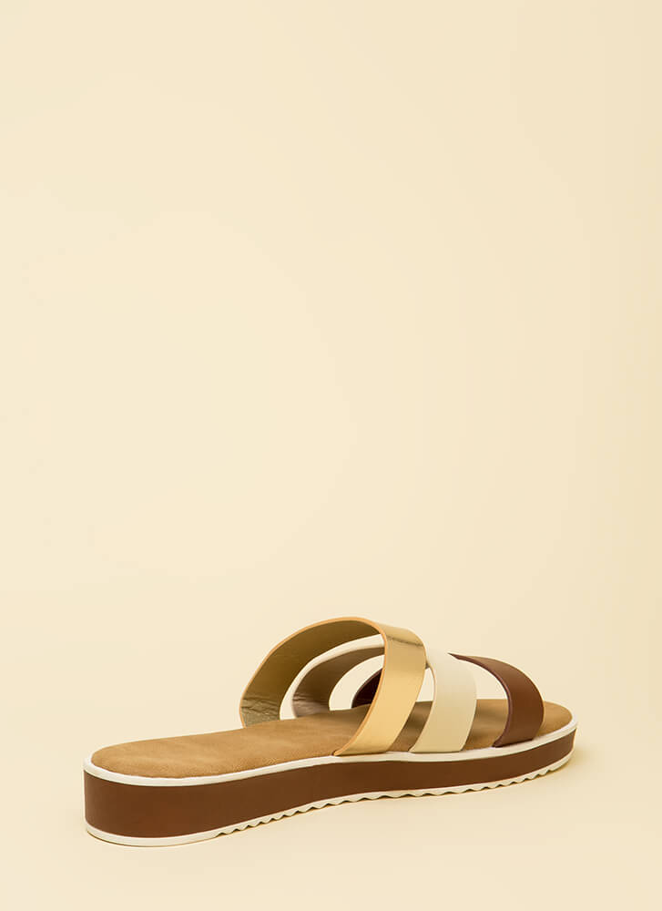 3 Straps And You're Out Platform Sandals TANMULTI