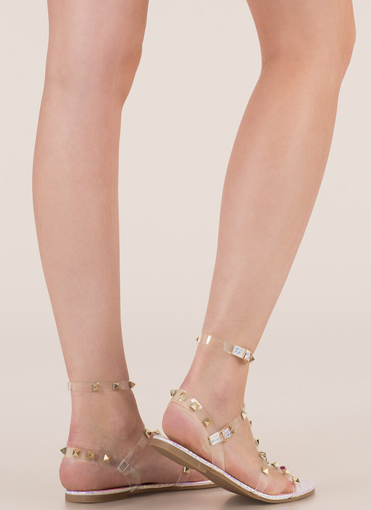 It's Clear Studded Iridescent Sandals PINK