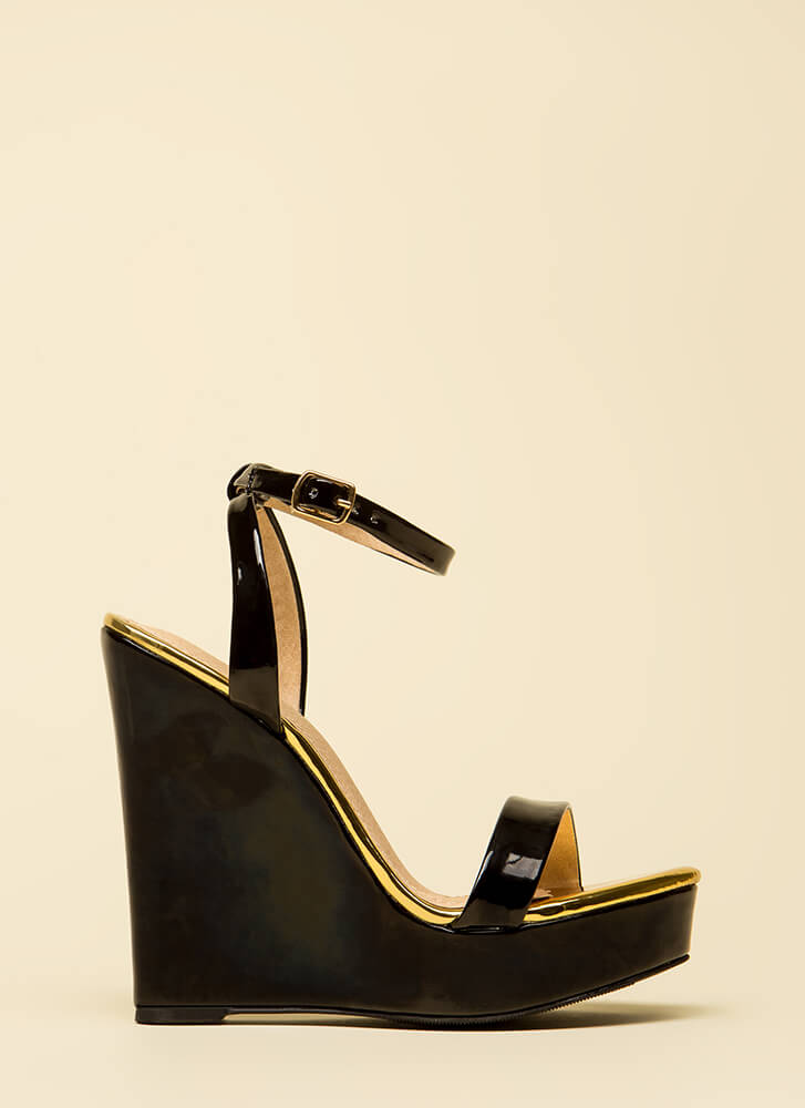 High Style Ankle Strap Platform Wedges BLACK