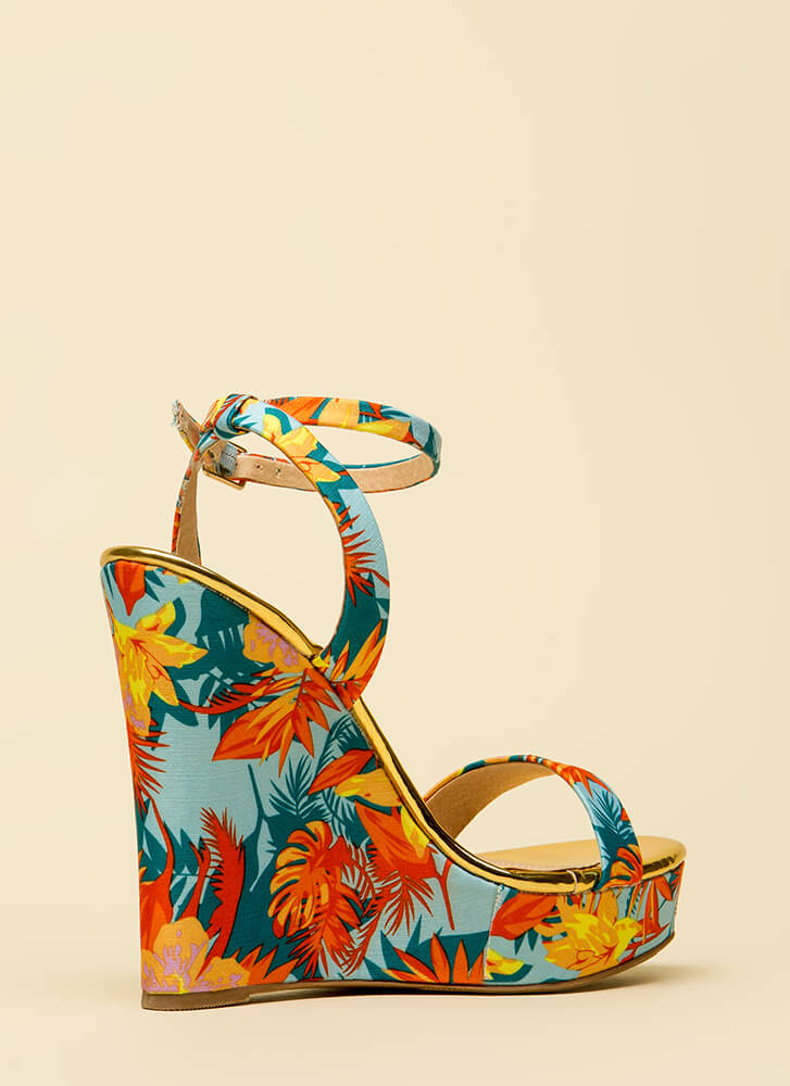 High Style Ankle Strap Platform Wedges MULTI