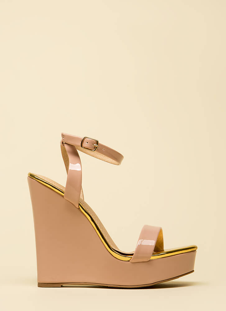 High Style Ankle Strap Platform Wedges NUDE