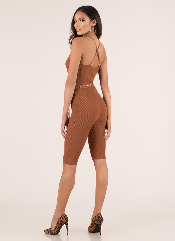 Yes Girl Plunging Belted Rib Knit Romper RUST