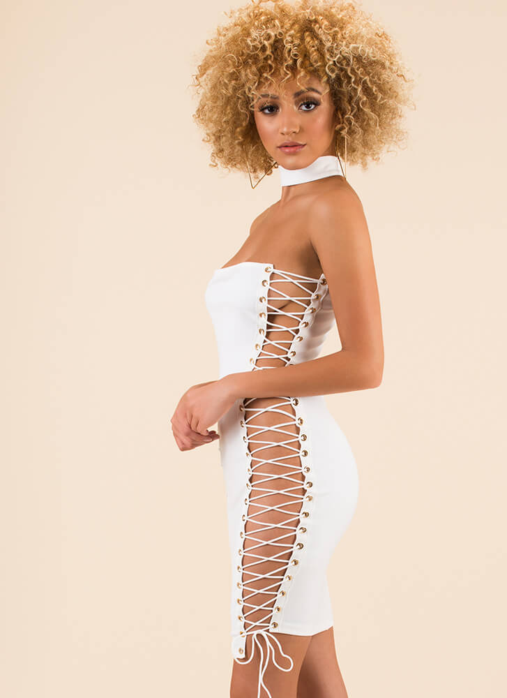 Fleeky Friday Lace-Up Choker Dress WHITE