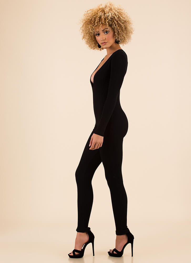 Catsuit Call Plunging Rib Knit Jumpsuit BLACK