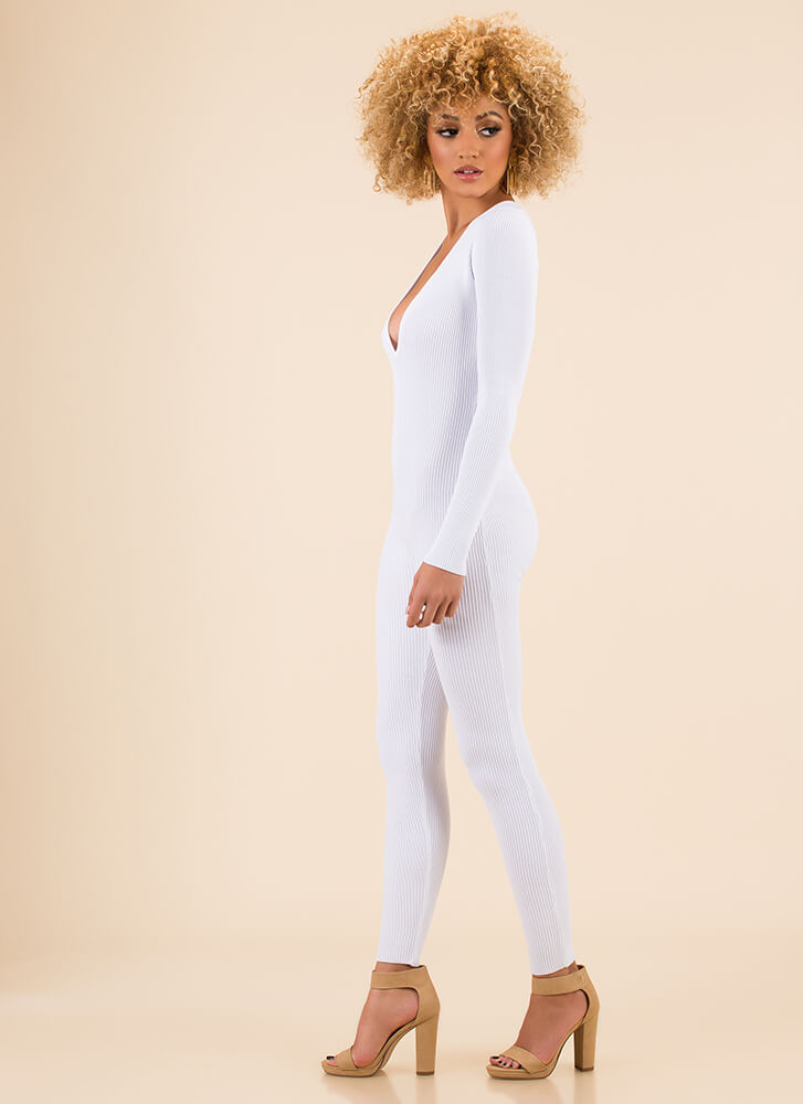 Catsuit Call Plunging Rib Knit Jumpsuit WHITE