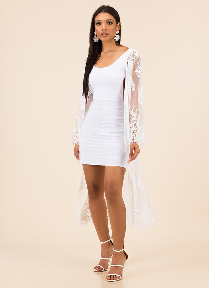 Sheer Elegance Floral Lace Duster WHITE