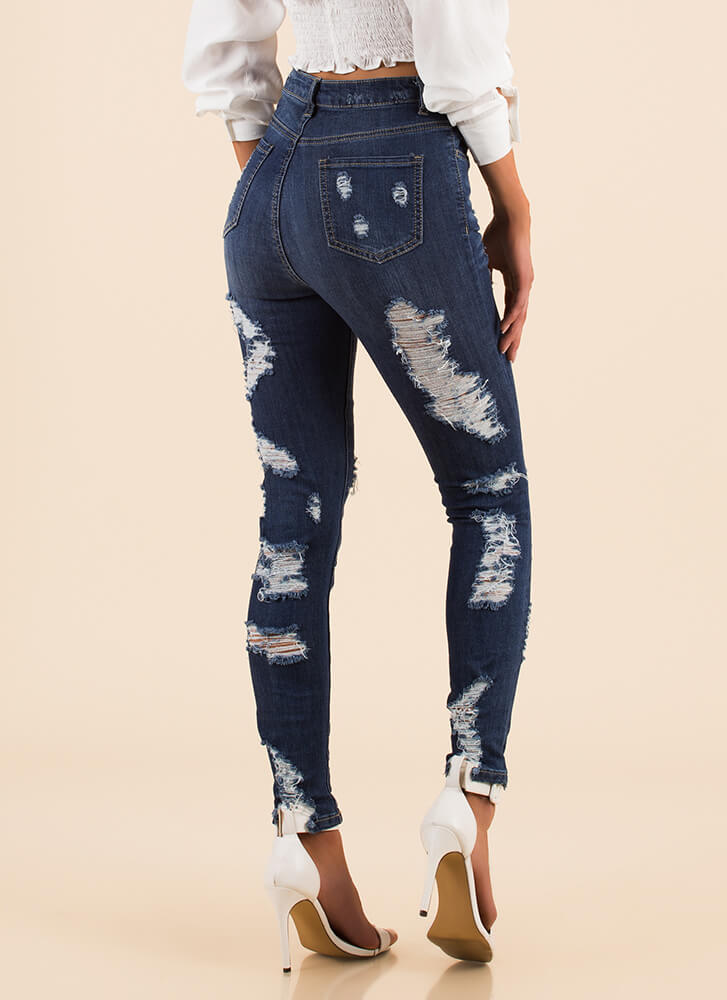Front To Back Destroyed Skinny Jeans BLUE