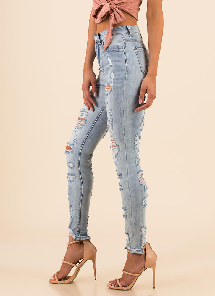 Front To Back Destroyed Skinny Jeans LTBLUE