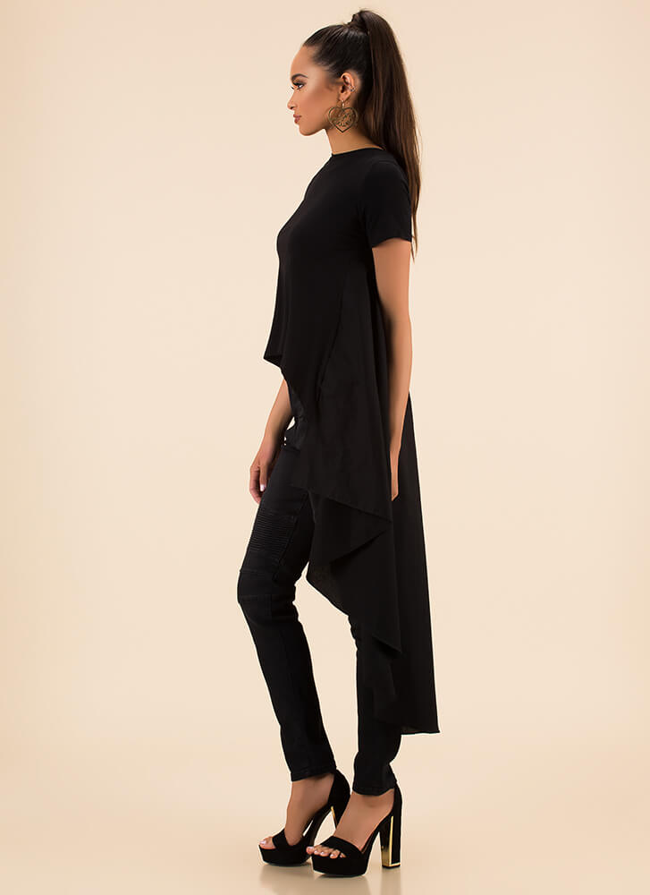 Long And Short Cascading High-Low Top BLACK