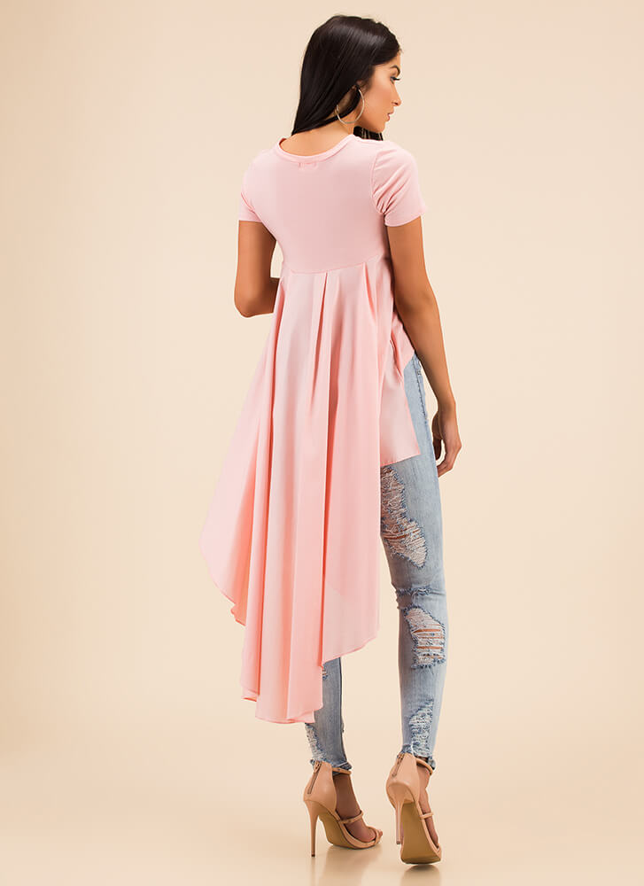 Long And Short Cascading High-Low Top PINK