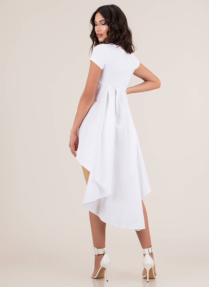 Long And Short Cascading High-Low Top WHITE