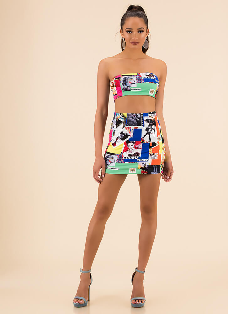 Magazine Cover Graphic Top And Skirt Set MULTI