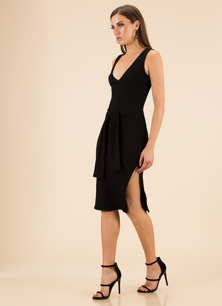 Sleeve Your Mark Tied Knit Dress BLACK