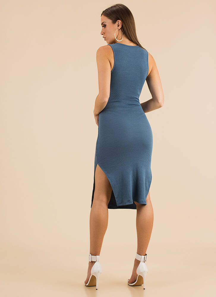 Sleeve Your Mark Tied Knit Dress BLUE