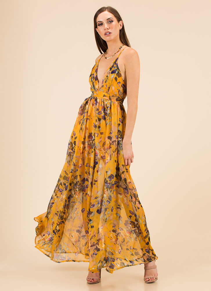 Flowing Florals Plunging Maxi Dress MUSTARD