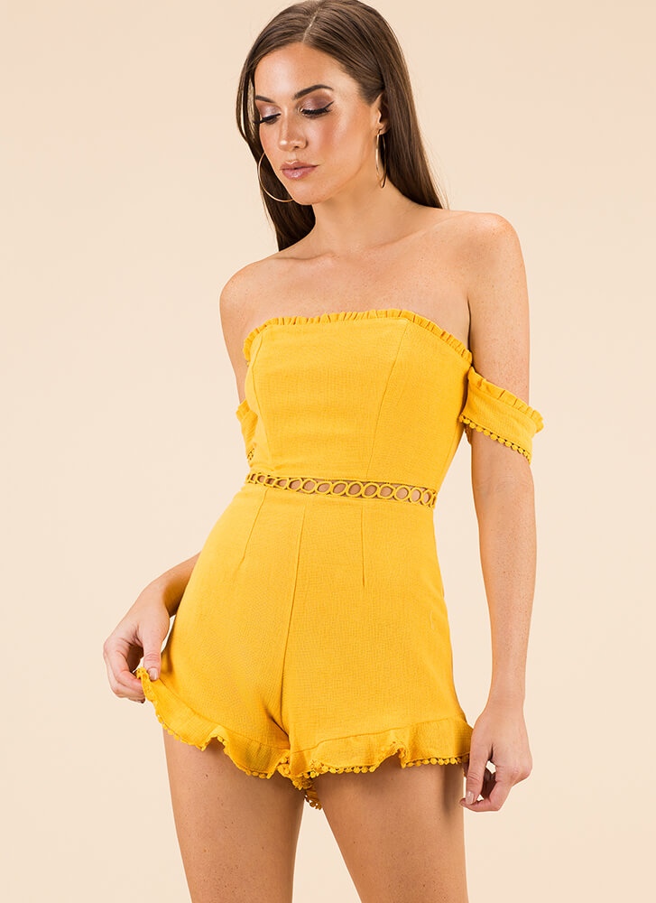 The Details Ruffled Off-Shoulder Romper MUSTARD