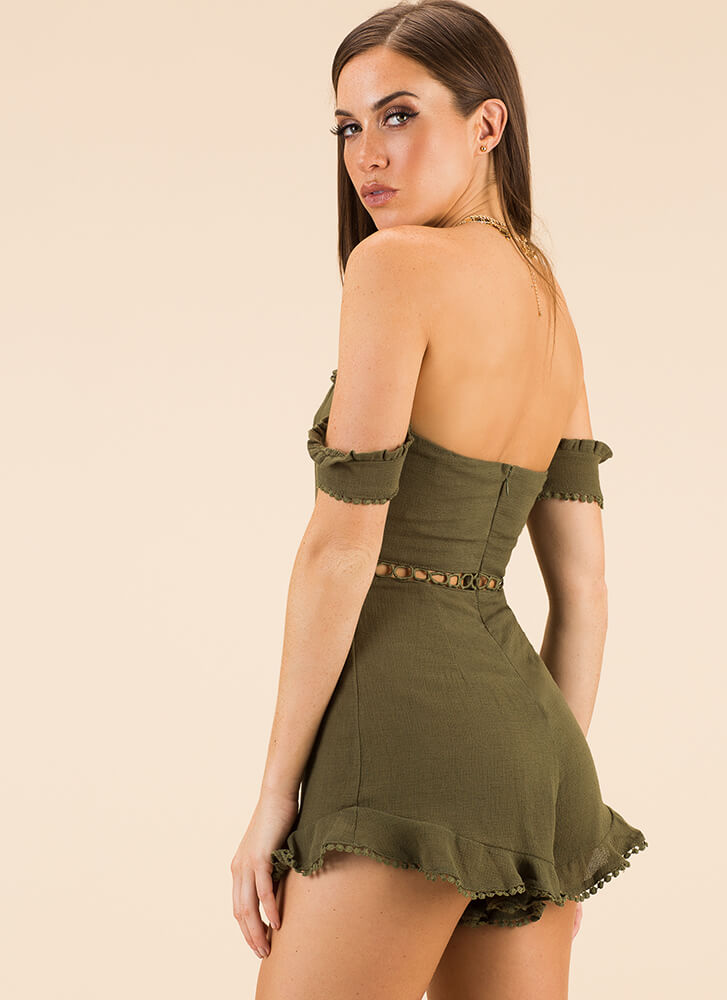 The Details Ruffled Off-Shoulder Romper OLIVE