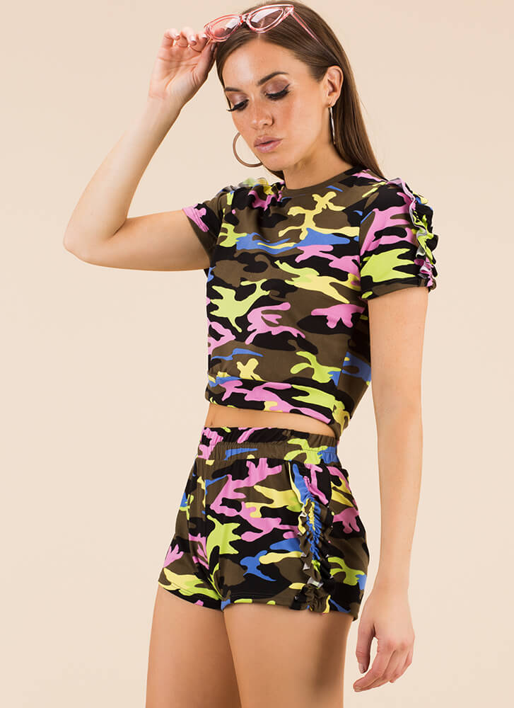 Cute Camo Ruffled Top And Shorts Set MULTI