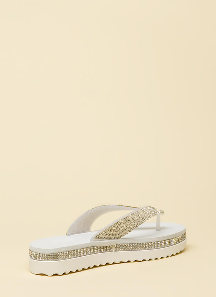 Sparkly Sensation Platform Thong Sandals SILVER