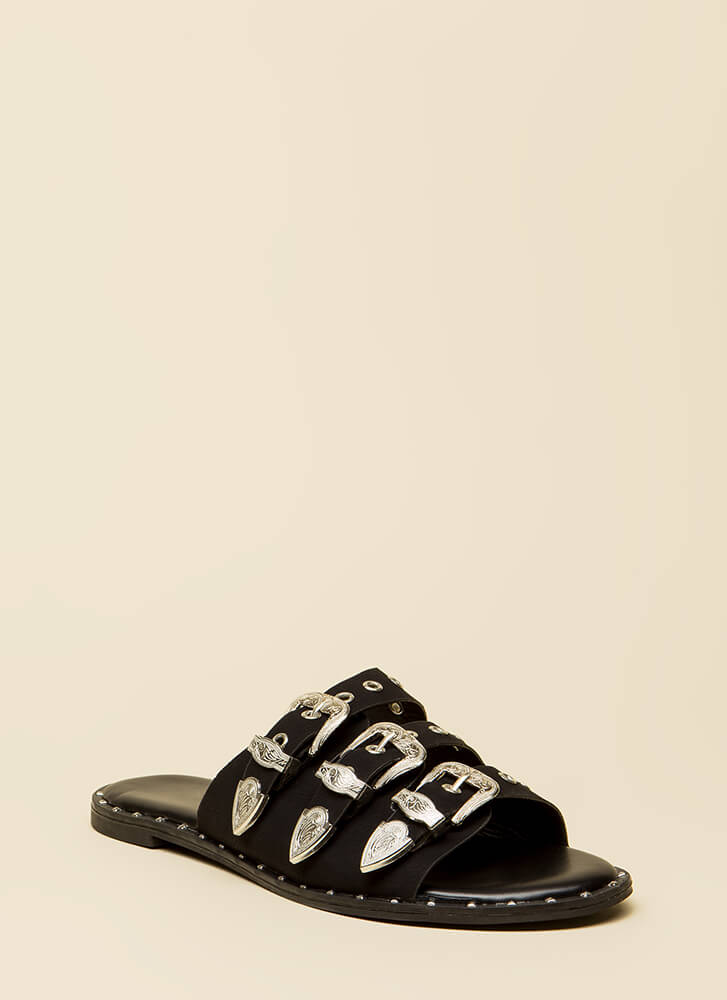 Triple Threat Studded Buckled Sandals BLACK
