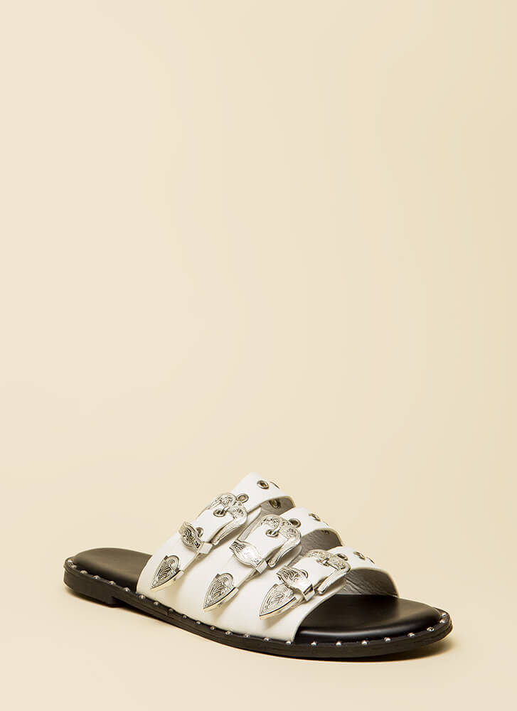 Triple Threat Studded Buckled Sandals WHITE