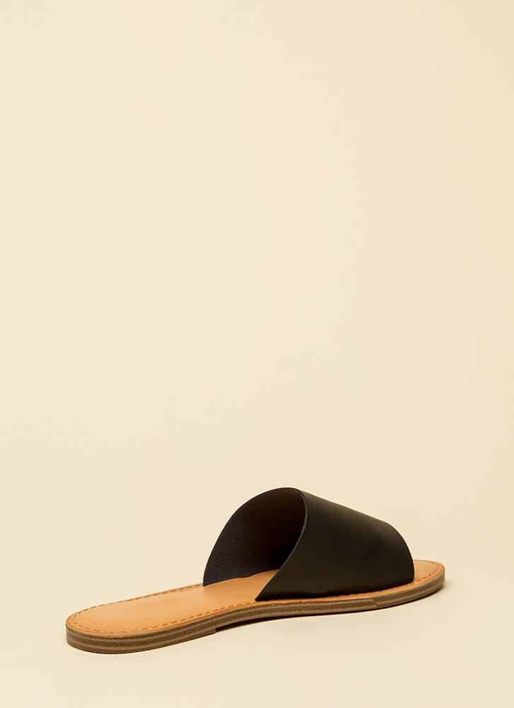 Ready To Go Faux Leather Slide Sandals BLACK