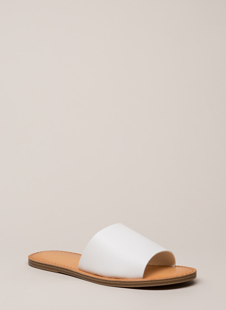 Ready To Go Faux Leather Slide Sandals WHITE