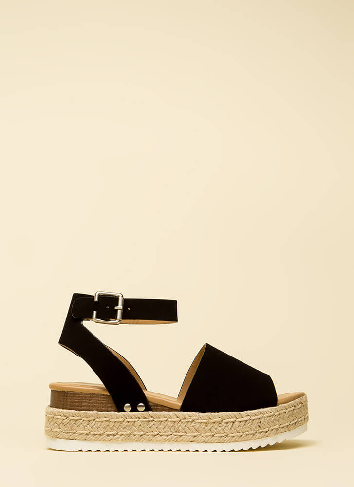 Vacation Time Braided Wedge Sandals BLACK