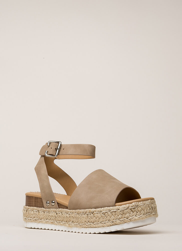 Vacation Time Braided Wedge Sandals DKNATURAL