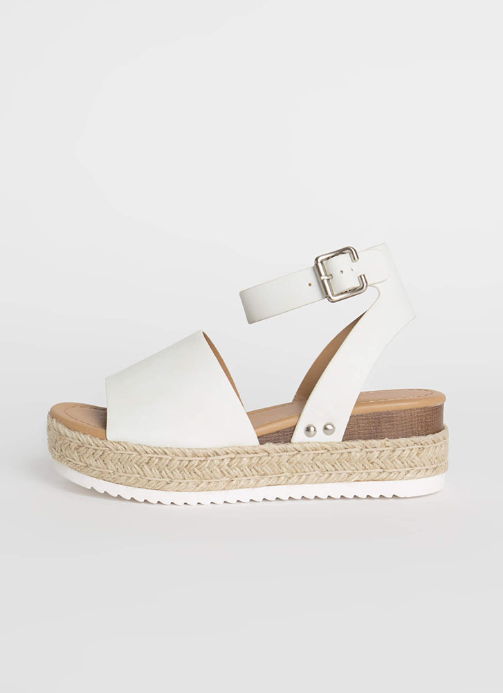 Vacation Time Braided Wedge Sandals OFFWHITE