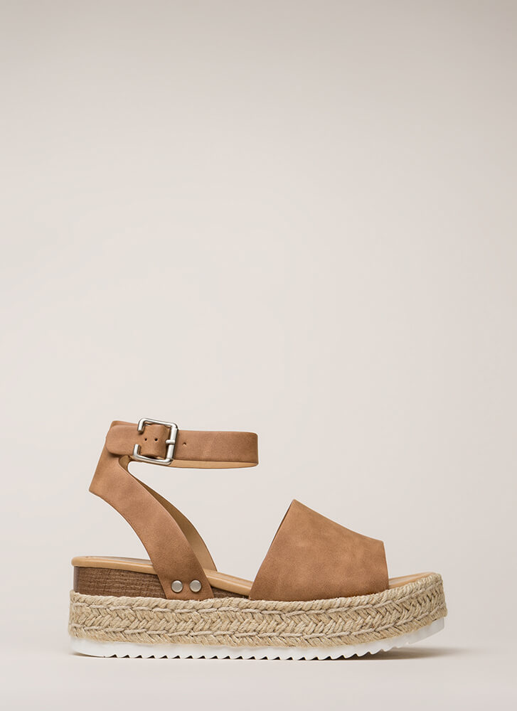 Vacation Time Braided Wedge Sandals TAN
