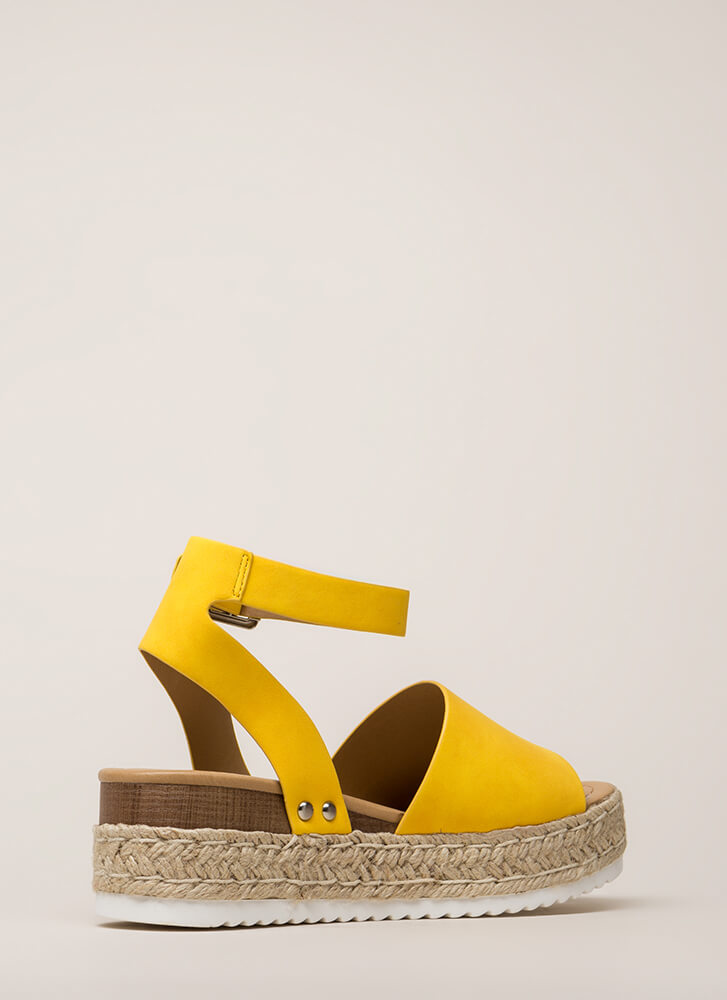Vacation Time Braided Wedge Sandals YELLOW