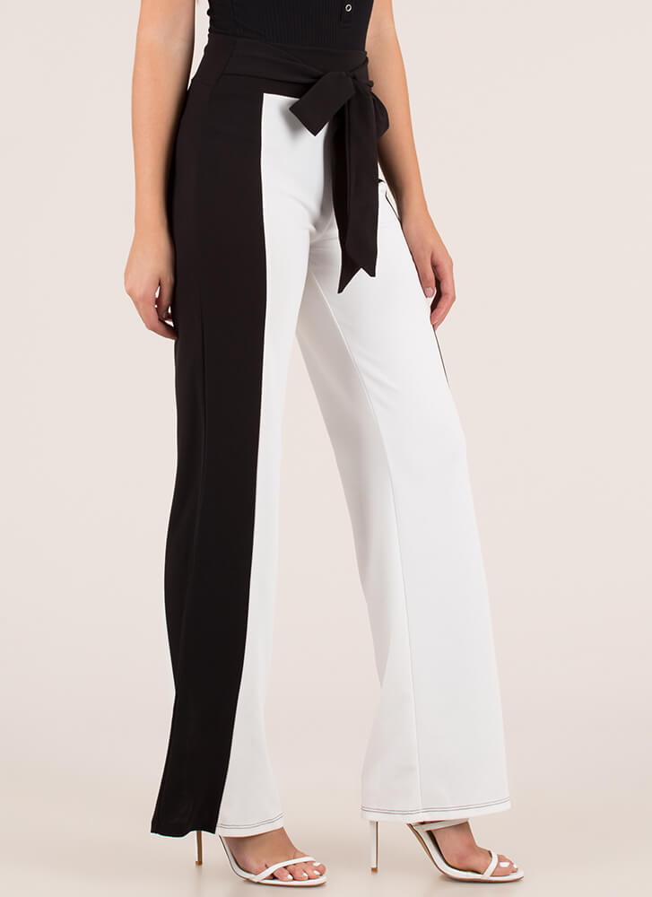 Going Halfsies Tied Colorblock Pants BLACKWHITE