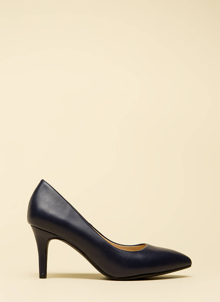 Everyday Heels Faux Leather Pumps NAVY