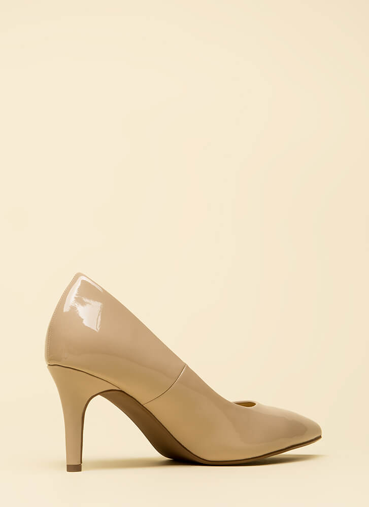 Everyday Heels Faux Patent Pumps DKBEIGE