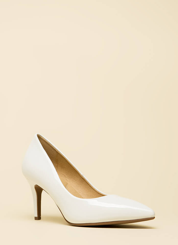 Everyday Heels Faux Patent Pumps WHITE