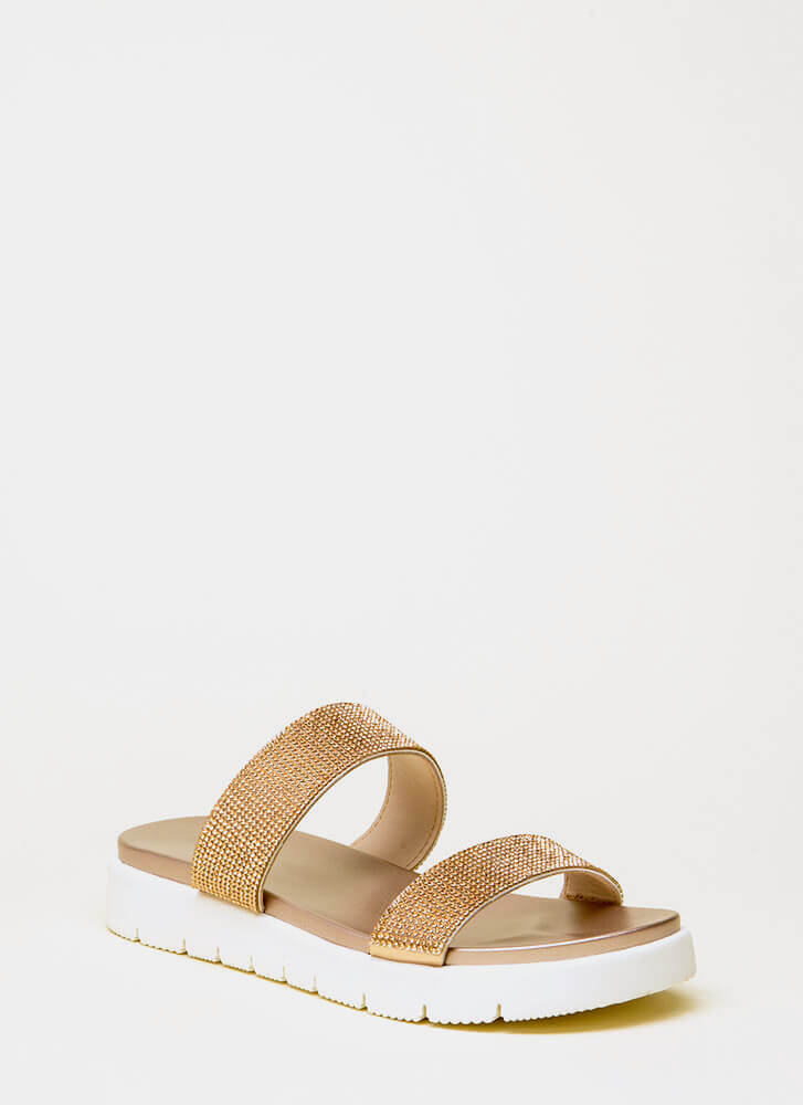 Stay Sparkly Jeweled Slide Sandals PENNY