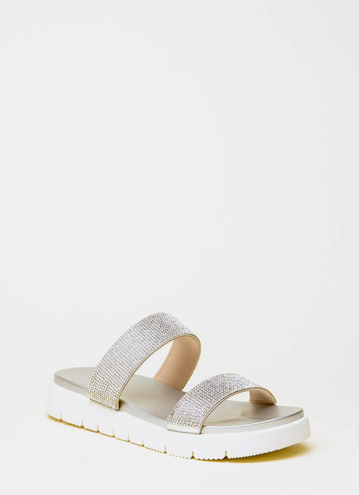 Stay Sparkly Jeweled Slide Sandals SILVER