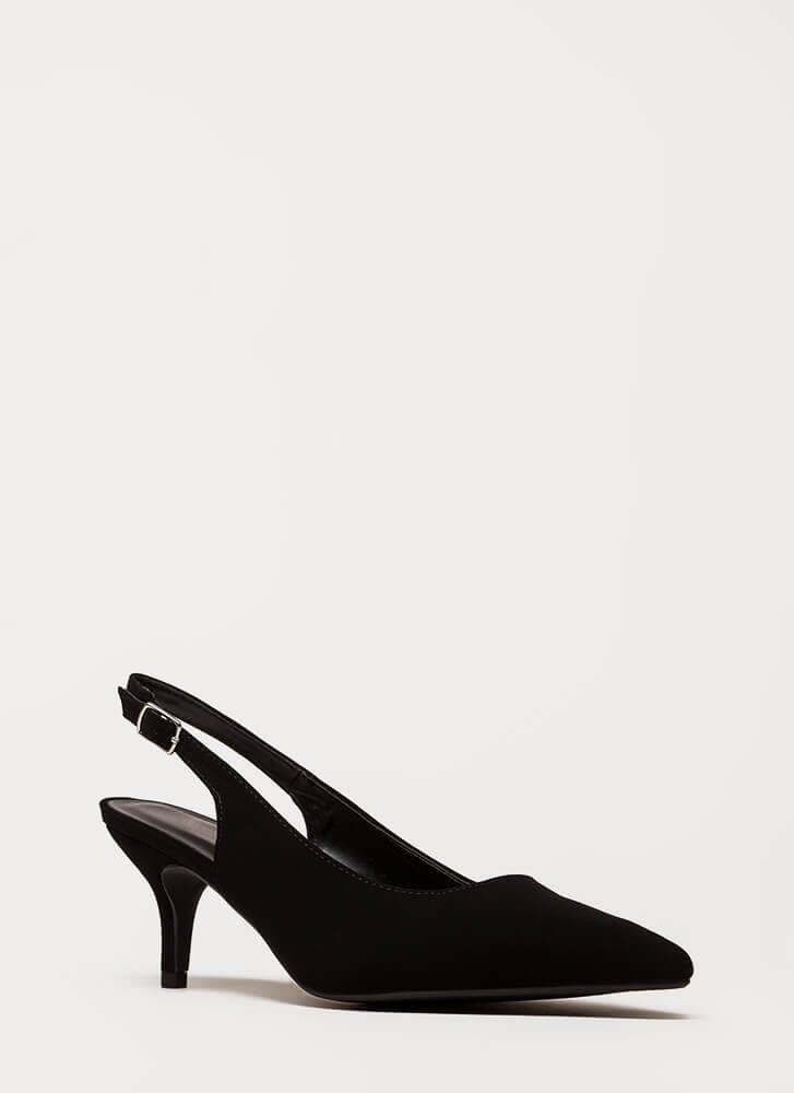 Short And To The Point Slingback Heels BLACK (Final Sale)