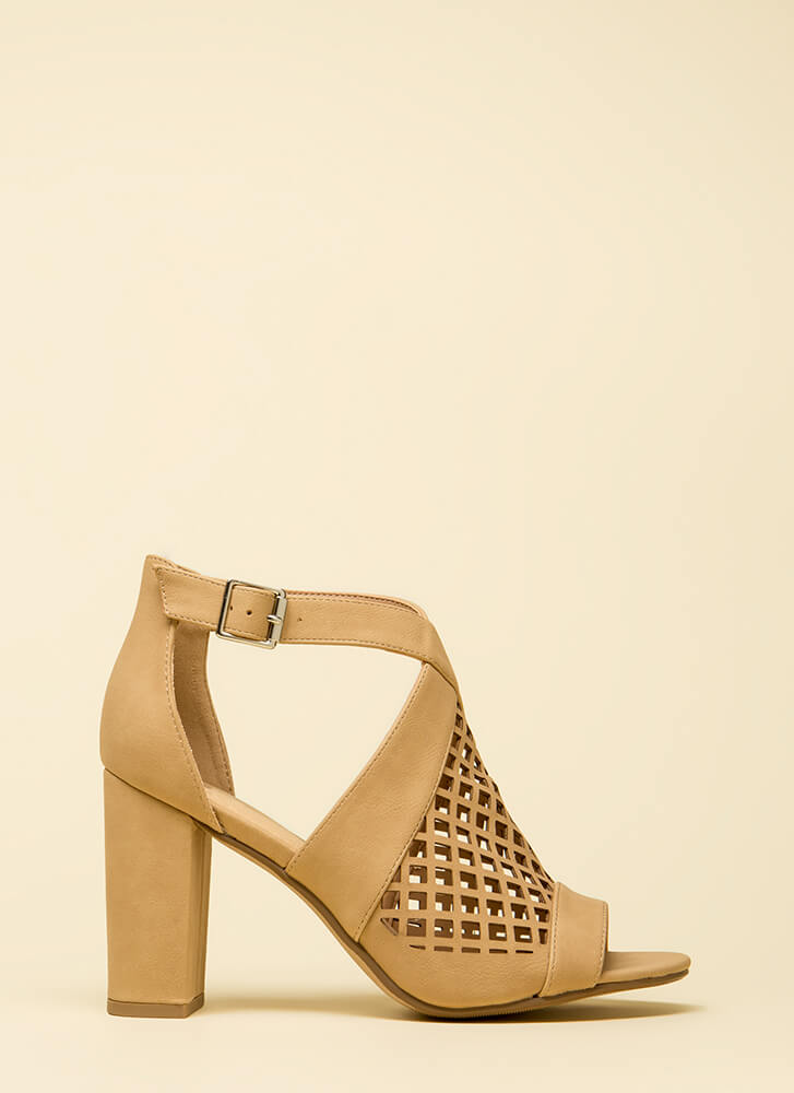 Ready Net Go Chunky Cut-Out Heels NATURAL