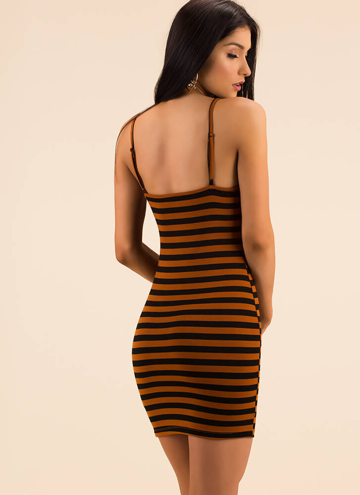 Classic Choice Striped Minidress COPPER