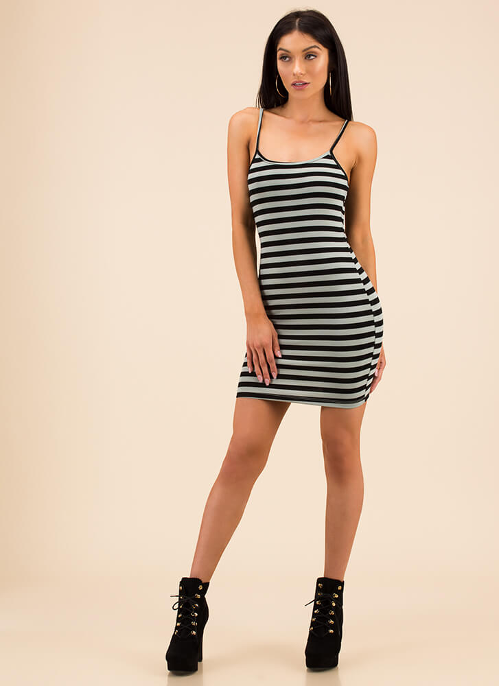 Classic Choice Striped Minidress SEAFOAM