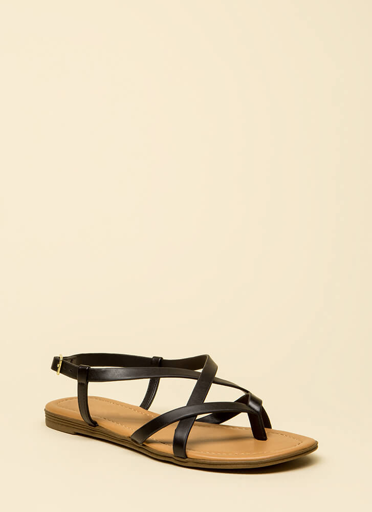Strappy To Be Here Caged Thong Sandals BLACK