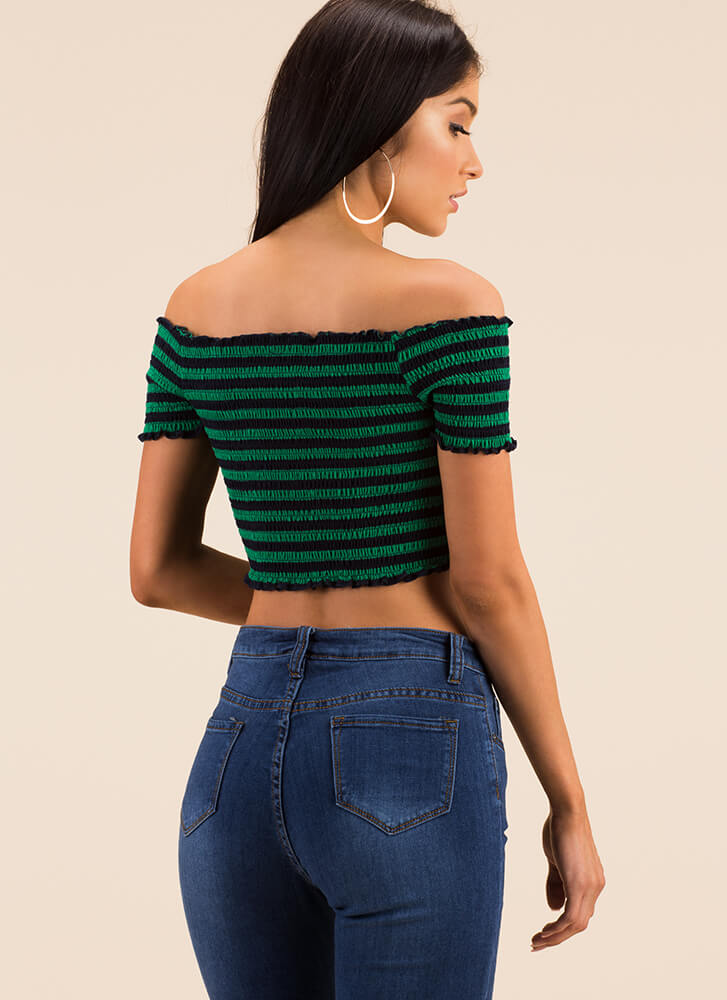 Stripe Me Down Off-Shoulder Crop Top GREEN