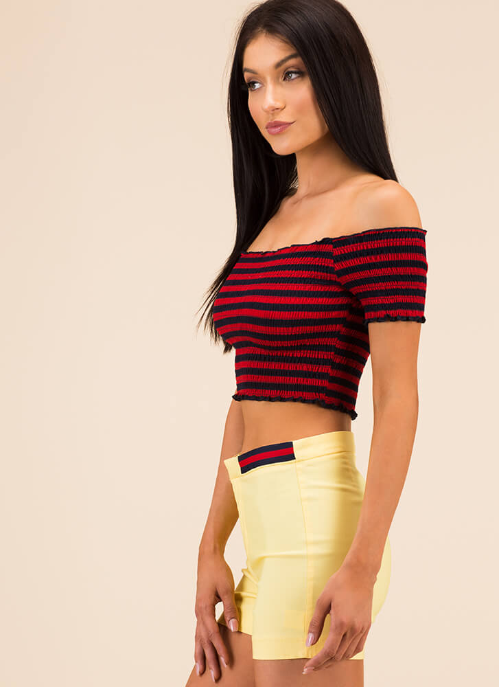 Stripe Me Down Off-Shoulder Crop Top RED