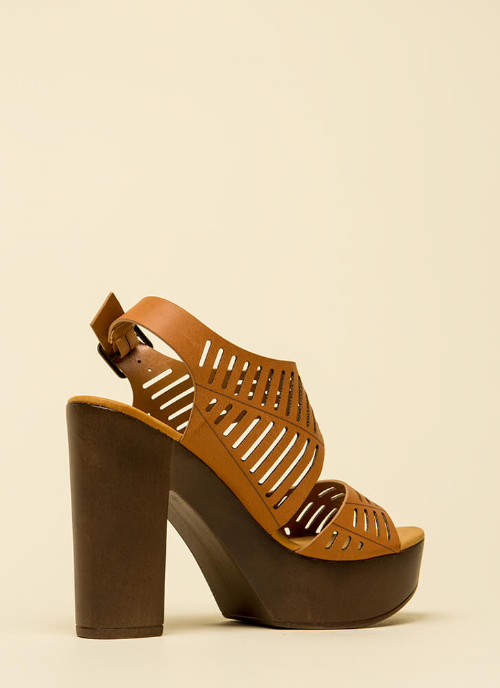 Chunky And Cute Cut-Out Platforms TAN