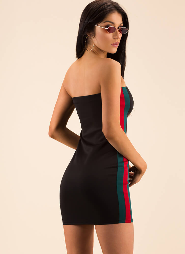 Sides Of A Story Striped Tube Dress BLACK