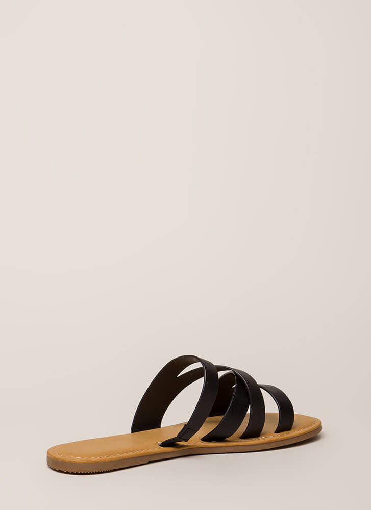 Everyday Style Strappy Slide Sandals BLACK