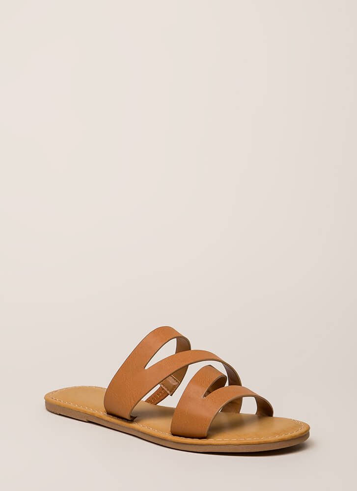 Everyday Style Strappy Slide Sandals TAN